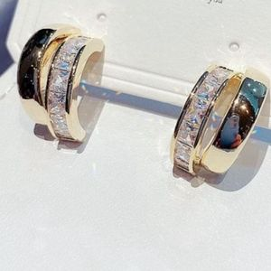 NEW YELLOW GOLD PLATED DIAMOND DOUBLE HOOPS